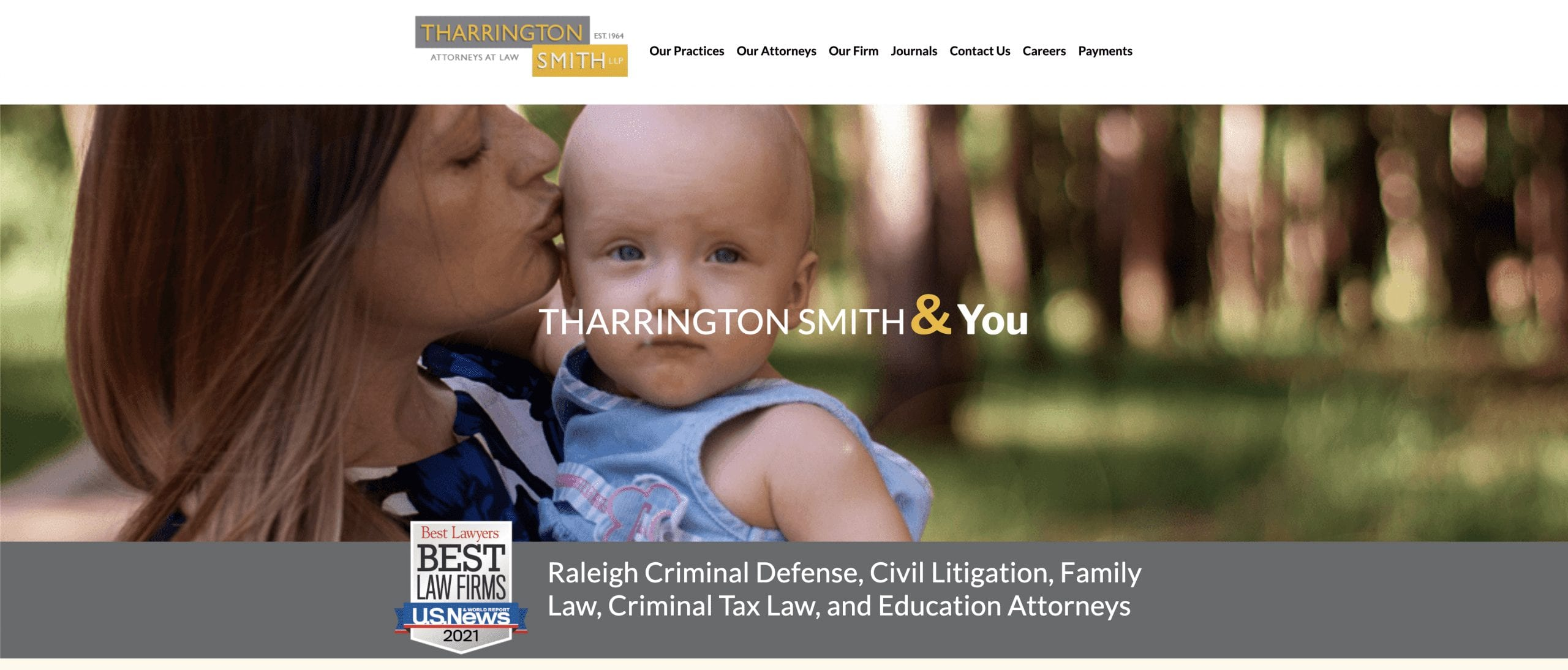home page of the new Tharrington Smith site
