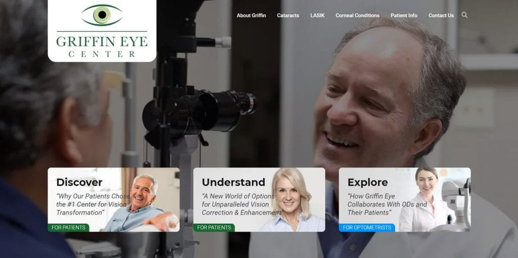 The new Griffin Eye Center home page