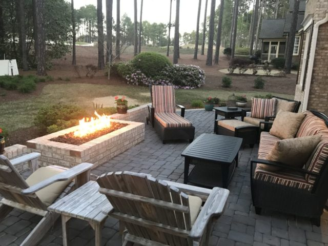 Brick and Paver Patio with Gas Fireplace